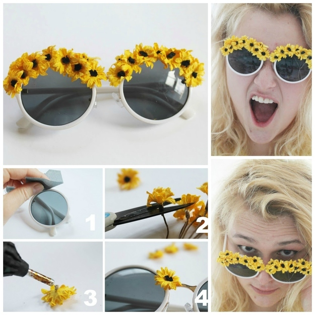 DIY Embellished Sunglasses With Flowers
