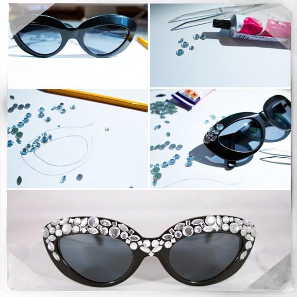 DIY Embellished Sunglasses With Gemstone