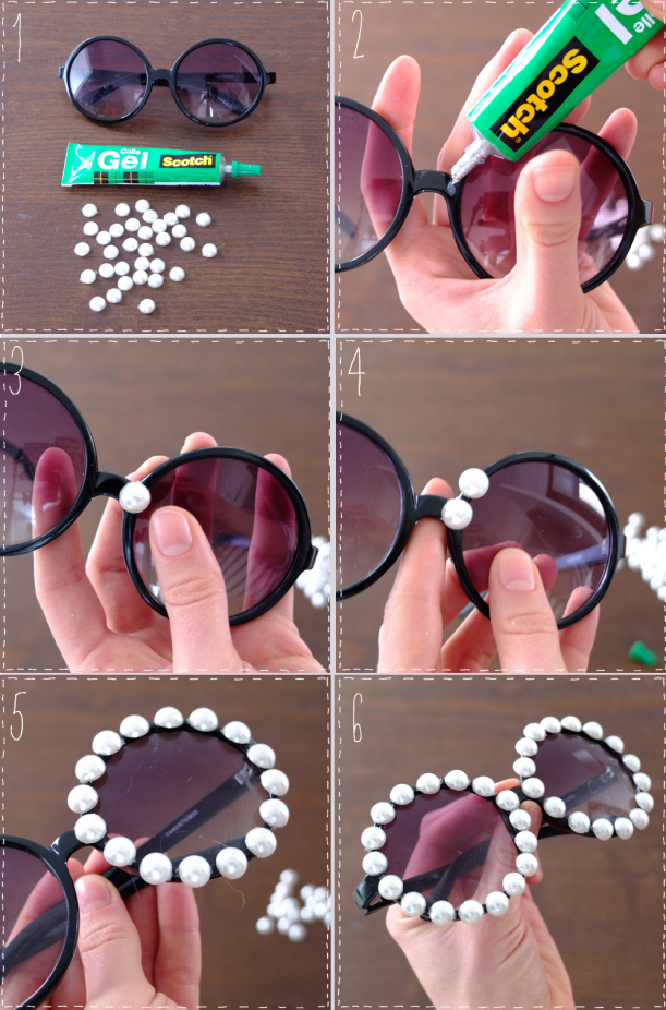 DIY Embellished Sunglasses With Pearls