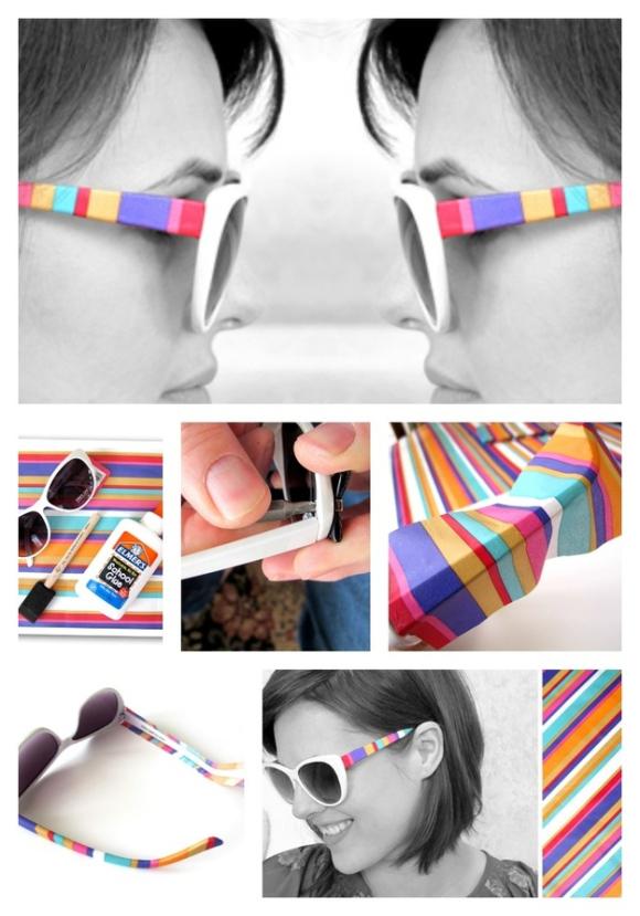DIY Embellished Sunglasses With Prints