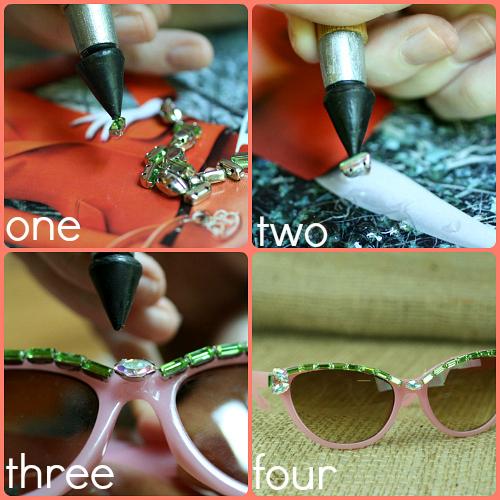 DIY Embellished Sunglasses With Rhinestone