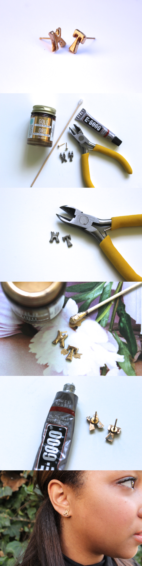 DIY Letter Stud Earrings