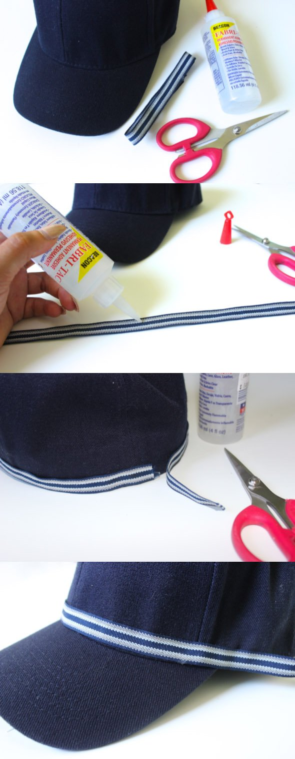 DIY - Metallic Trim Embellished Baseball Cap
