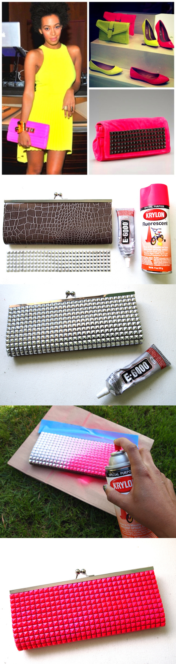 DIY Neon Stud Clutch