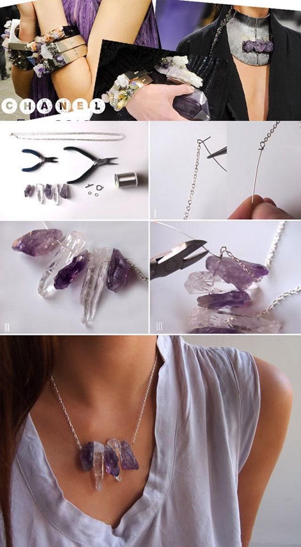 DIY Precious Stone Necklace Tutorial