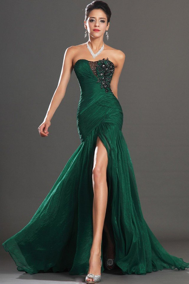 Dark Green High Slit Dress