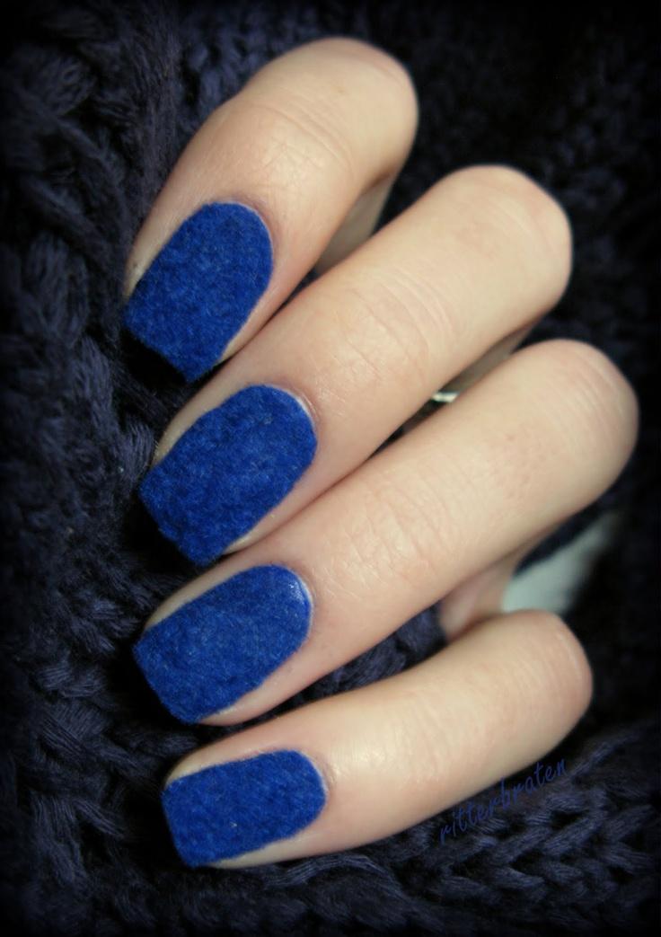 Deep Blue Velvet Nails