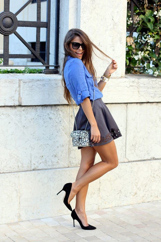 Denim Blouse and Mini Skirt Outfit Idea