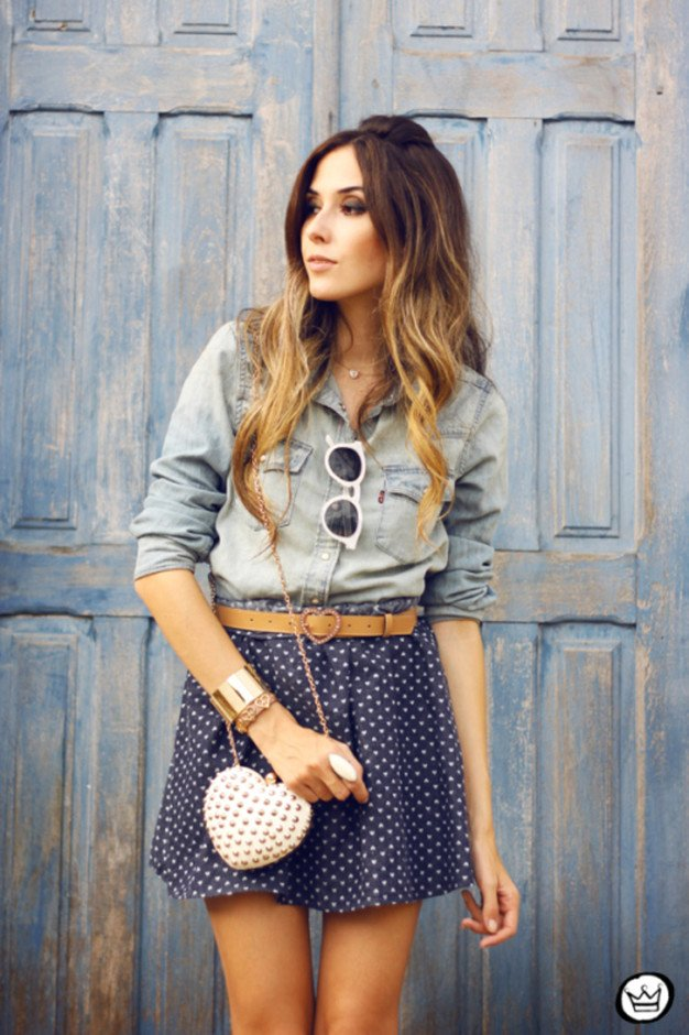 Denim Outfit Idea with Polka Dot Blouse