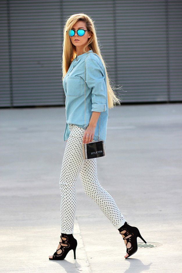 Denim Outfit Idea with White Jeans