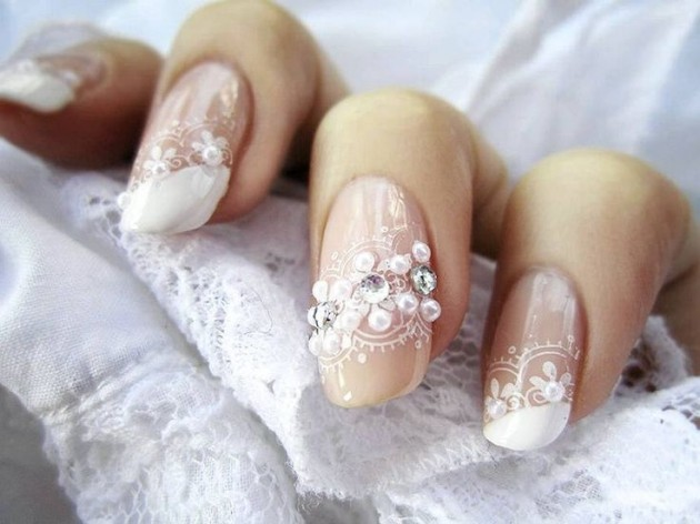 Embellished Lace Nail Art Idea