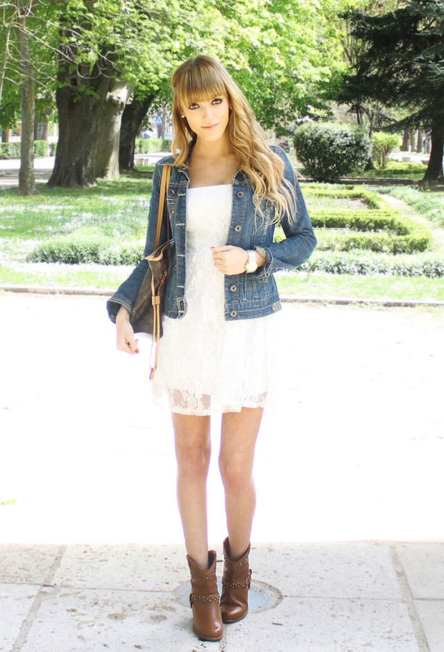 Faddish White Dress Outfit Idea with Denim Jacket