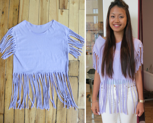 diy projects to try make your own fringe t shirt pretty designs. Black Bedroom Furniture Sets. Home Design Ideas