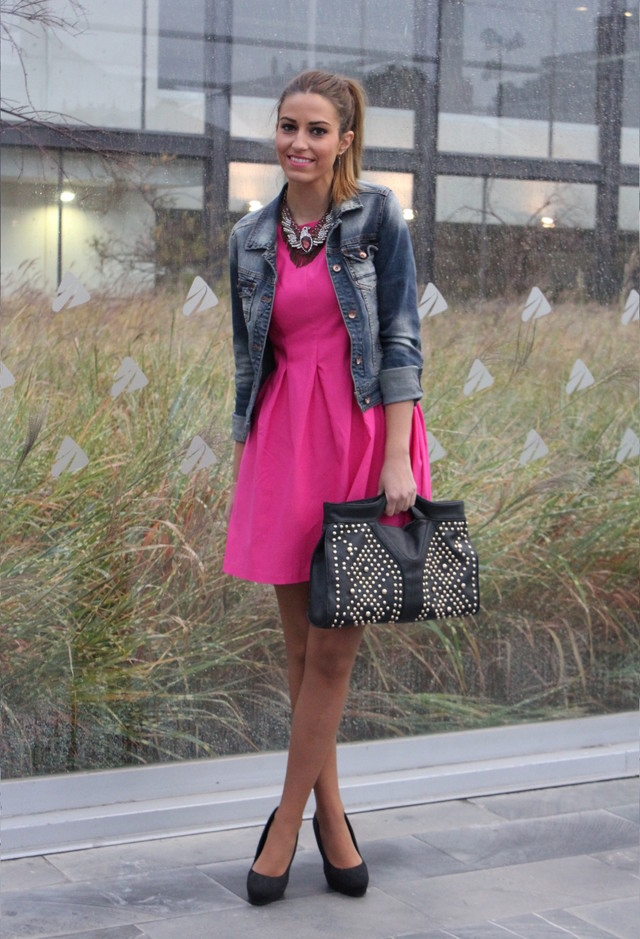 Fuchsia Short Dress with a Denim Jacket