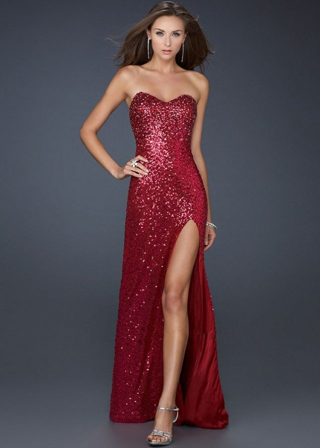 Full Sequined Red High Slit Dress