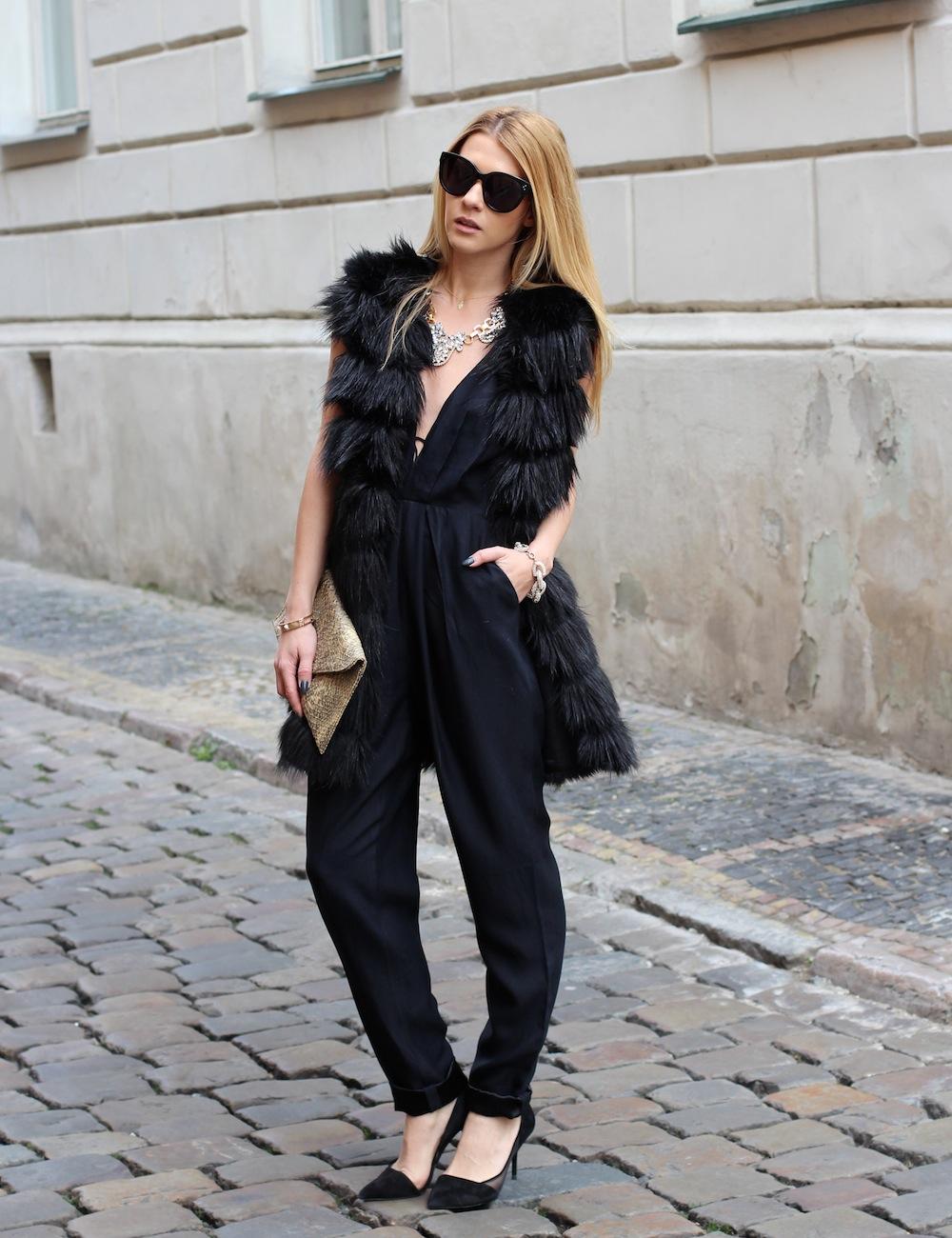 Fur Embellished Black Jumpsuit for Women