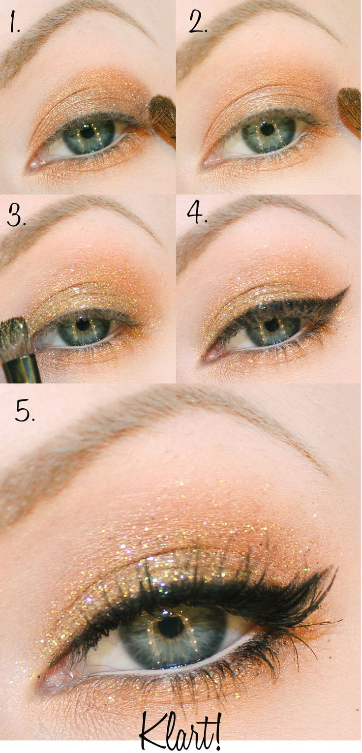 Golden Shimmer Eye Makeup Tutorial