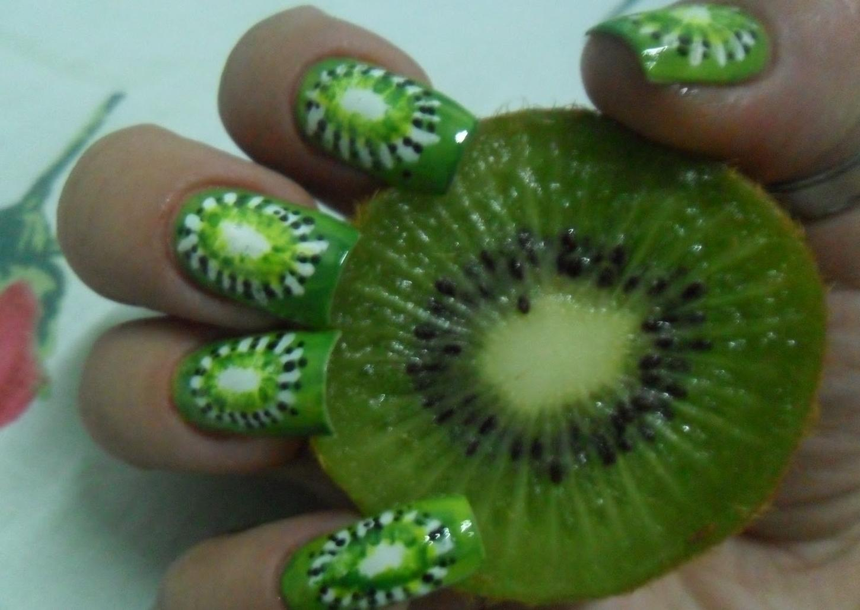 Kiwi Print for Summer Fruit Nail Designs