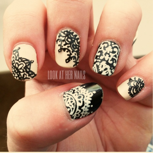 Lace Nail Art Idea
