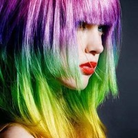 Layered Rainbow Hairstyle with Blunt Bangs