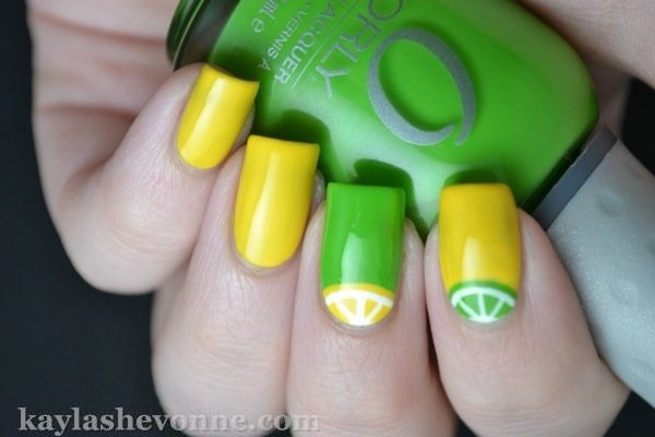 Lemon Print for Summer Fruit Nail Designs