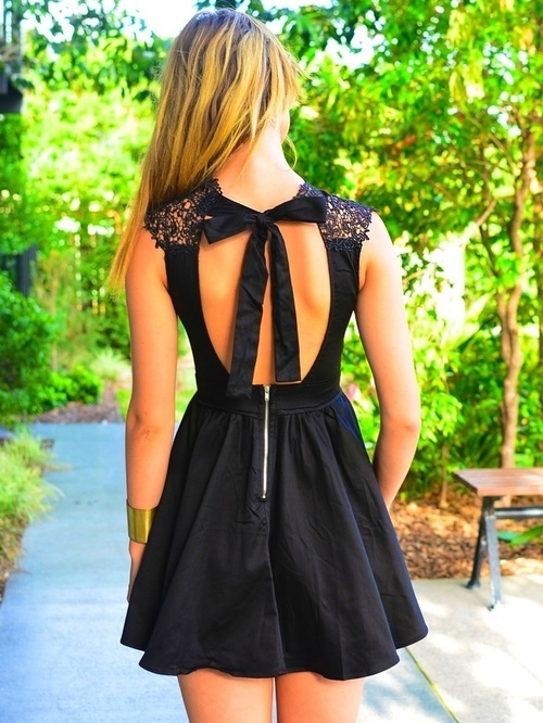Little Black Dress with Bow Ties