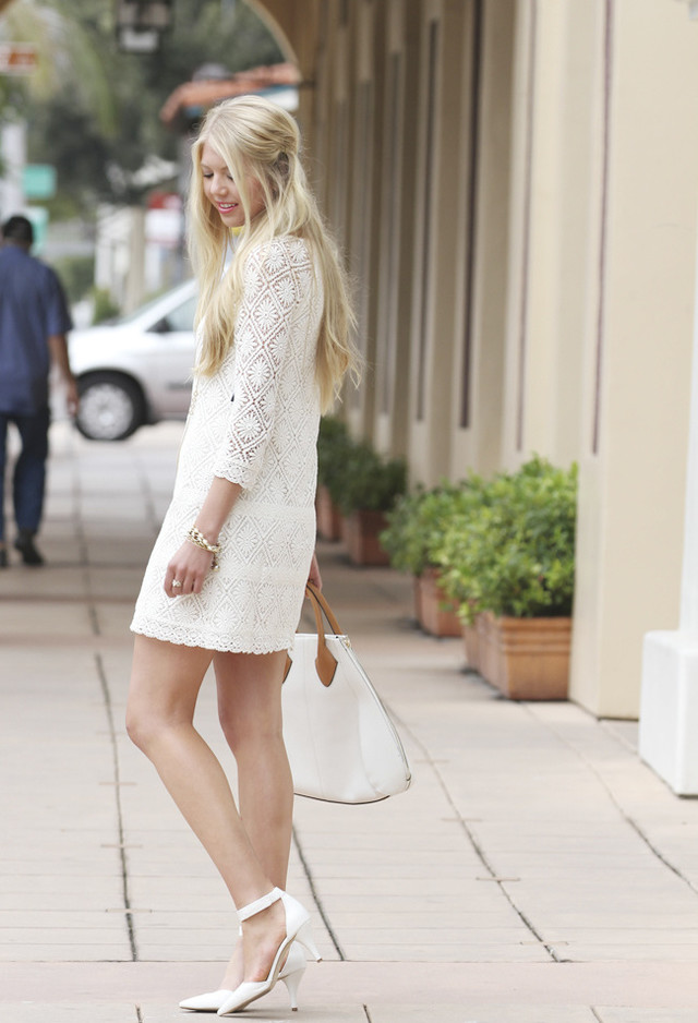 Lovely White Dress Outfit Idea