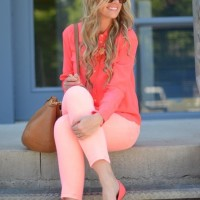 MONOCHROMATIC OUTFIT IDEAS - Coral Blouse