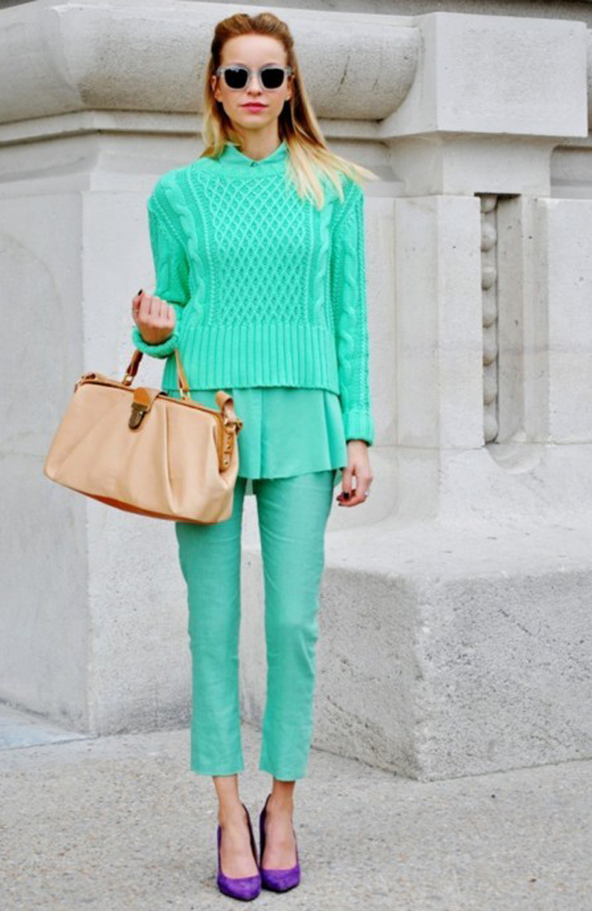 MONOCHROMATIC OUTFIT IDEAS - Mint Sweater