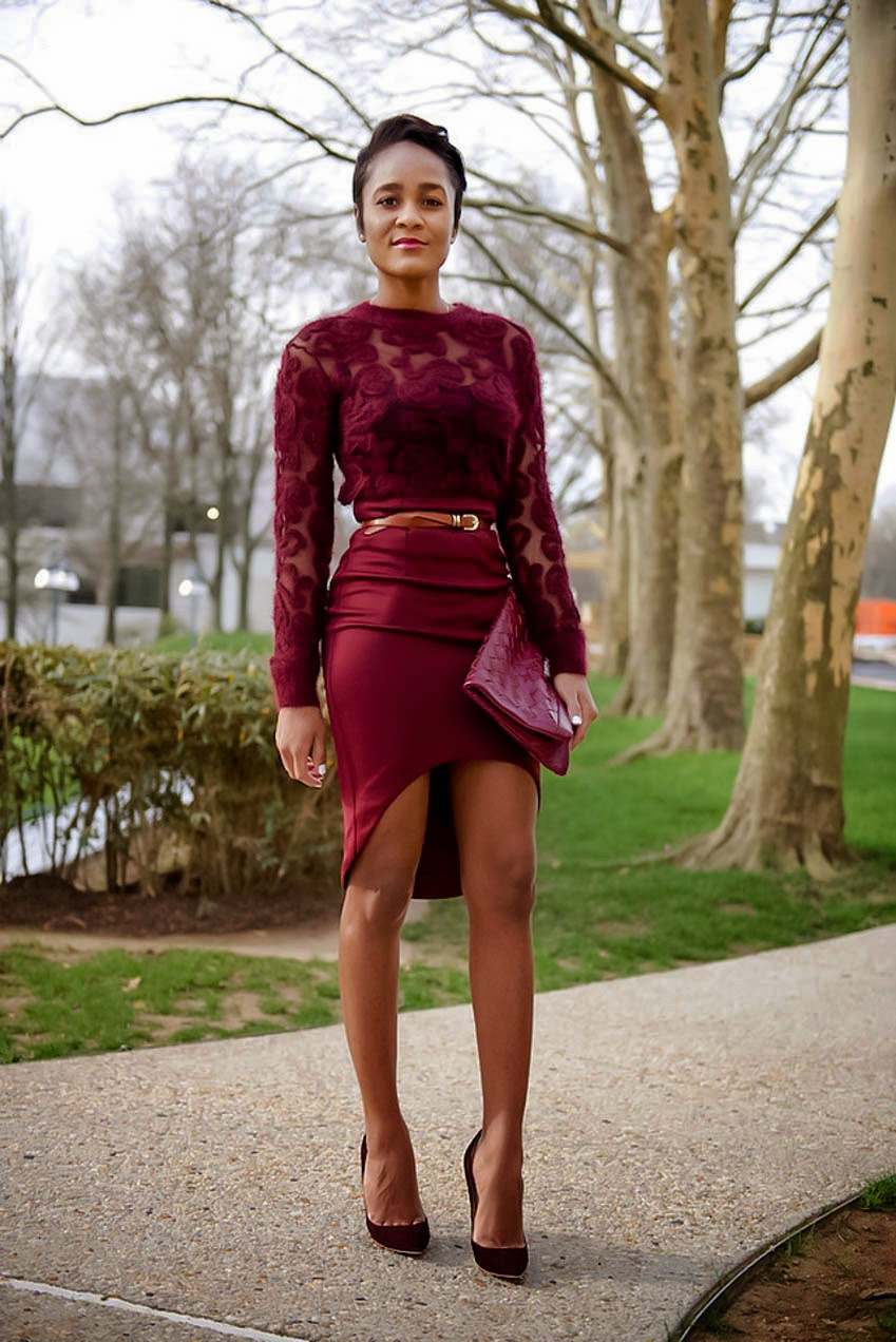 MONOCHROMATIC OUTFIT IDEAS - Wine Hued Top