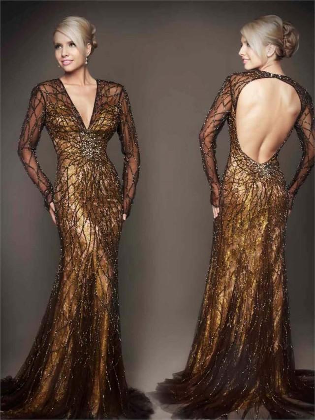 Mac Duggal Backless Golden Evening Dress