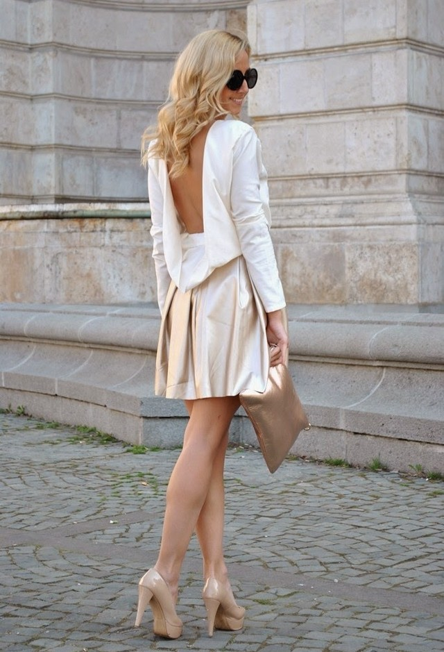 Milky Golden Short Dresses for Spring 2014