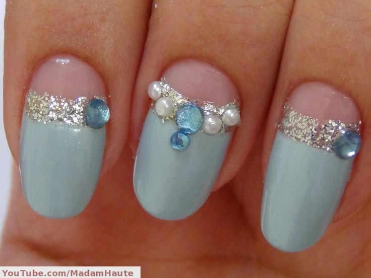 Mint Embellished Gem Nails