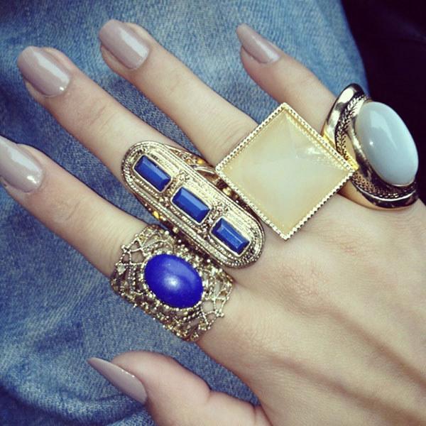 Navy Blue Multiple Rings