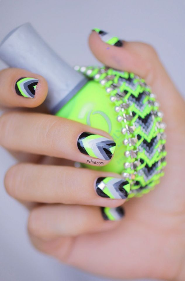 Nail designs bright green neon green acrylic nail designs view images color block nail prinsesfo Choice Image