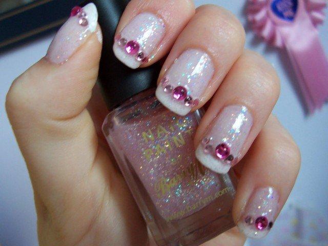 Nude Embellished Gem Nails