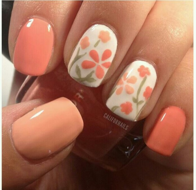 Orange Flower Nail Designs