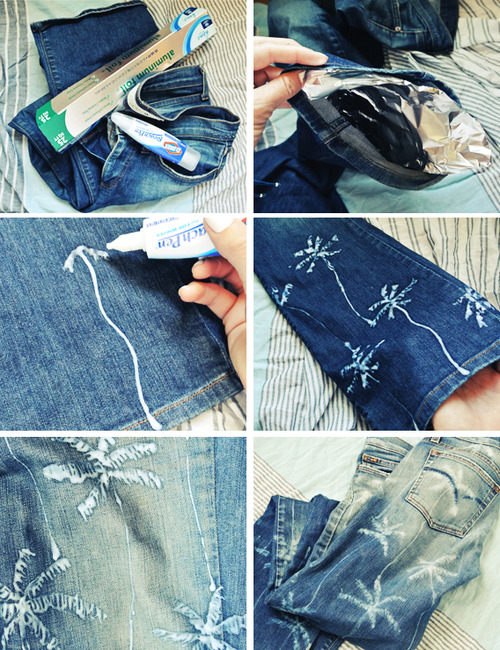 Palm Tree Printed Jeans