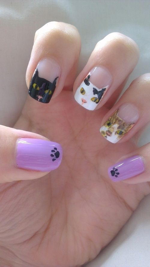 15 Super Funny Kitty Nail Designs - Pretty Designs