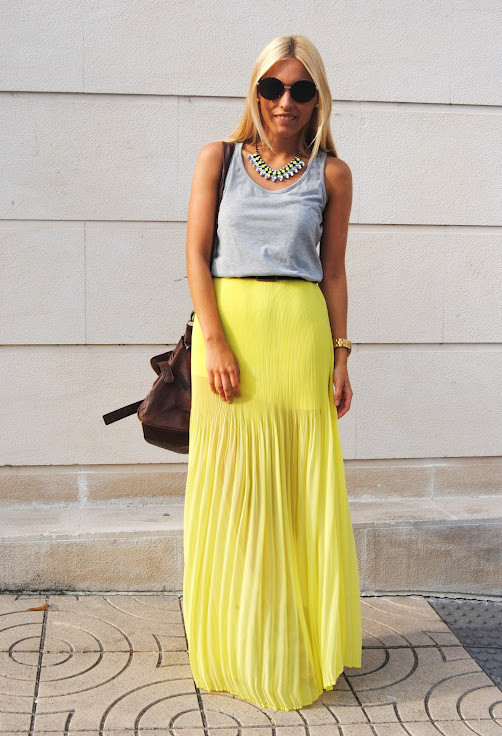 Pastel Outfit Idea with Yellow Pleated Skirt