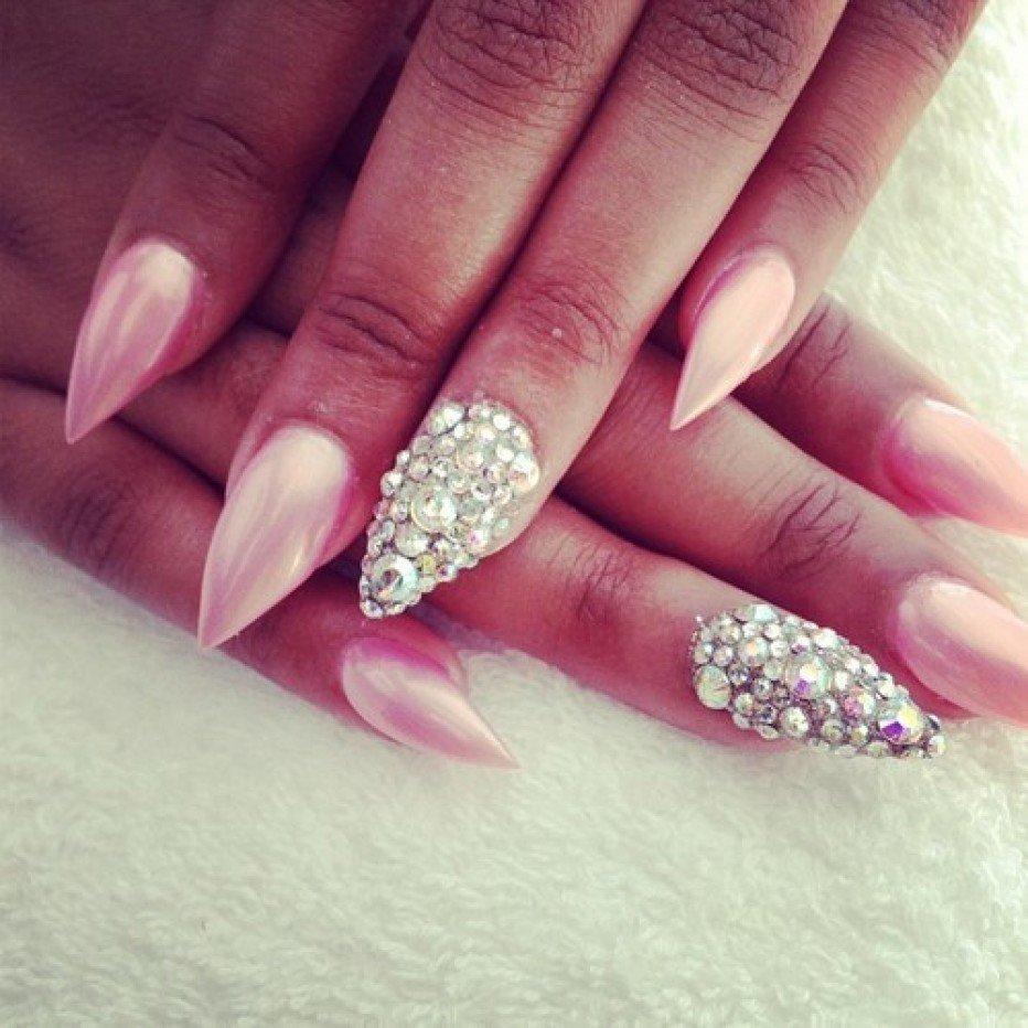 Pink Embellished Gem Nails