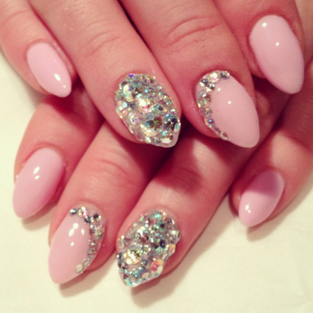 Pink Embellished Nails for Classy Nail Designs