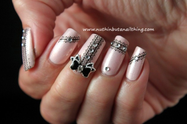 Pink Lace Nail Art Idea