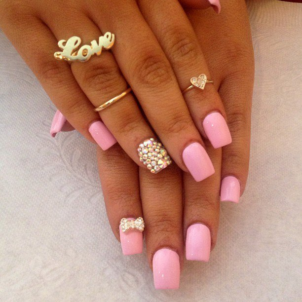 Pink Nails with Gems