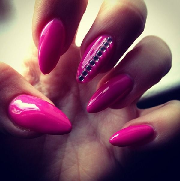 Pink Nails with Studs