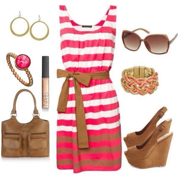 Pink Stripe Dress Outfit Idea for Summer