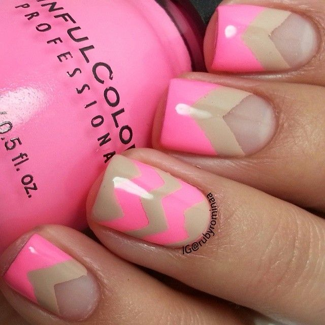 Pink and Brown Nails - 20 Color Block Nail Designs For Beginners - Pretty Designs