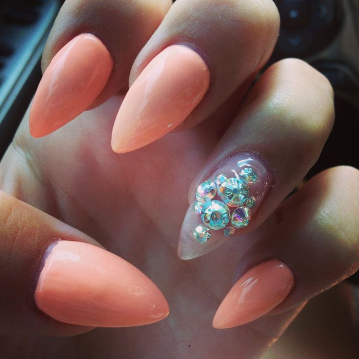 Pink and Crystal Nails