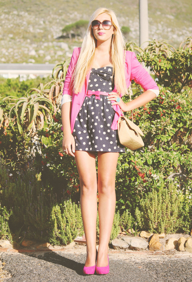 Polka Dot Short Dresses with a Blazer