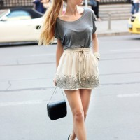 Pretty Embellished Skirt Outfit for Summer